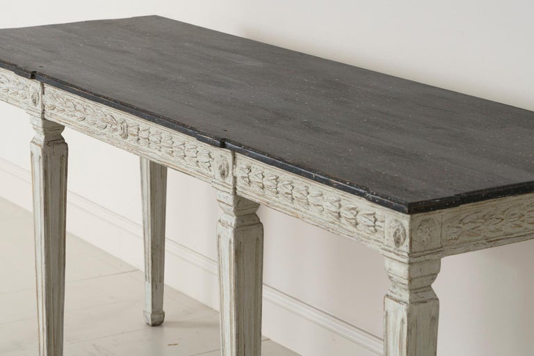 19th Century Swedish Late Gustavian Console Table with Hand Painted Porphyry Top For Sale 14