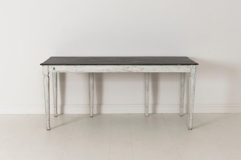 19th Century Swedish Late Gustavian Console Table with Hand Painted Porphyry Top For Sale 15