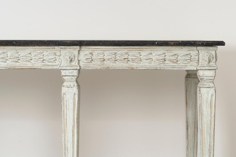 Hand-Carved 19th Century Swedish Late Gustavian Console Table with Hand Painted Porphyry Top For Sale