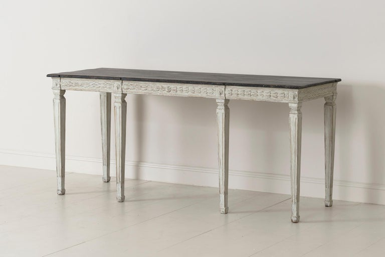 19th Century Swedish Late Gustavian Console Table with Hand Painted Porphyry Top In Excellent Condition In Wichita, KS