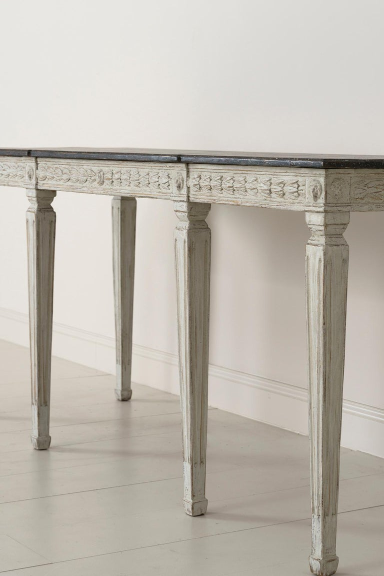 Wood 19th Century Swedish Late Gustavian Console Table with Hand Painted Porphyry Top