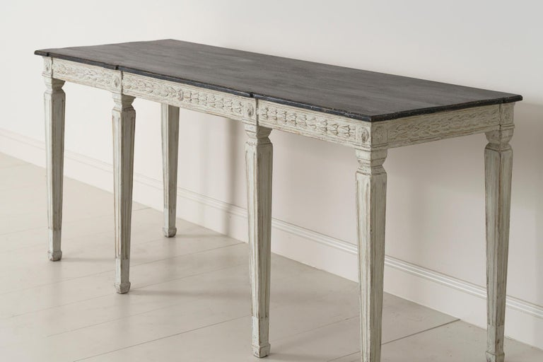 19th Century Swedish Late Gustavian Console Table with Hand Painted Porphyry Top For Sale 2