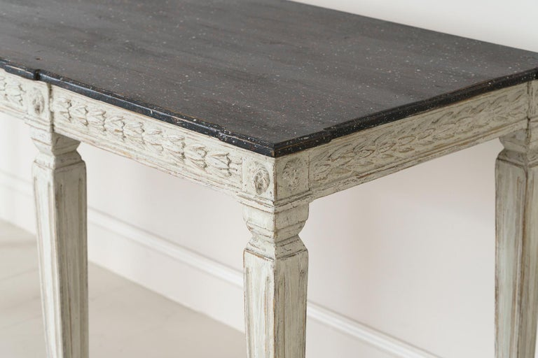 19th Century Swedish Late Gustavian Console Table with Hand Painted Porphyry Top For Sale 3