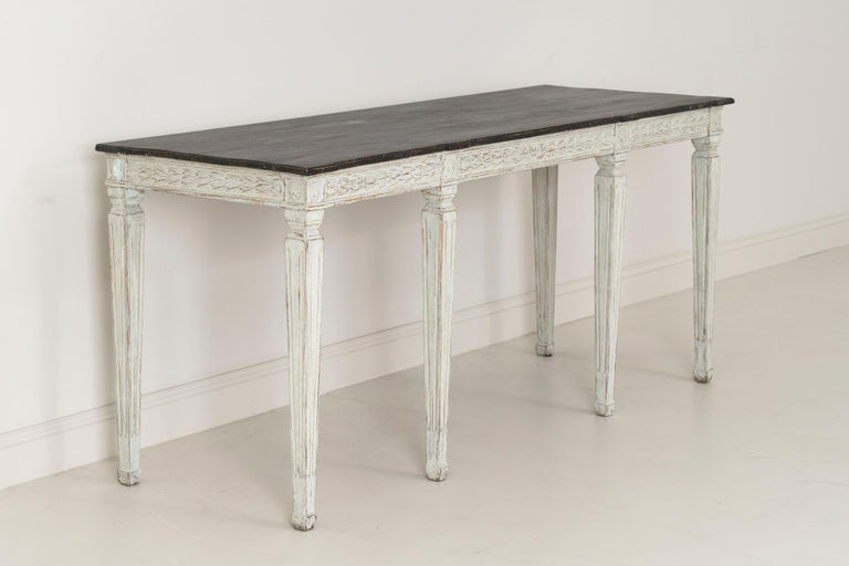 19th Century Swedish Late Gustavian Console Table with Hand Painted Porphyry Top For Sale 4
