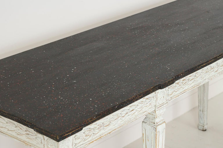 19th Century Swedish Late Gustavian Console Table with Hand Painted Porphyry Top For Sale 5