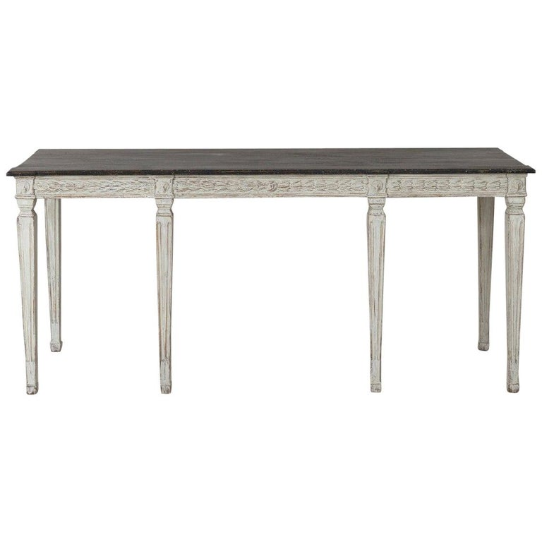 19th Century Swedish Late Gustavian Console Table with Hand Painted Porphyry Top