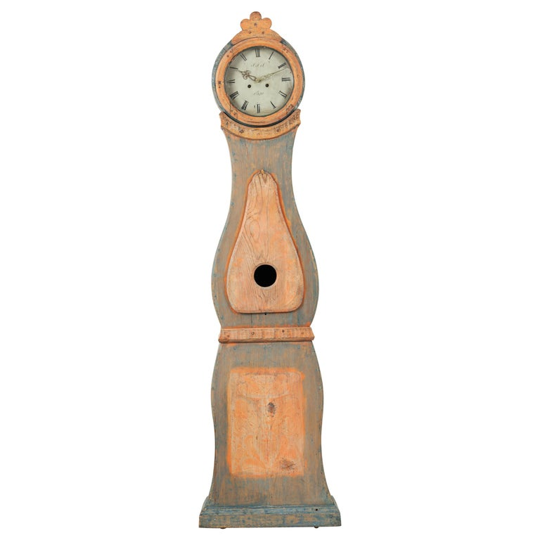 19th Century Swedish Long Case Clock from Nusnäs For Sale