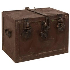 19th Century Swedish Mid-Sized Iron Trunk Safe with Locks and Key