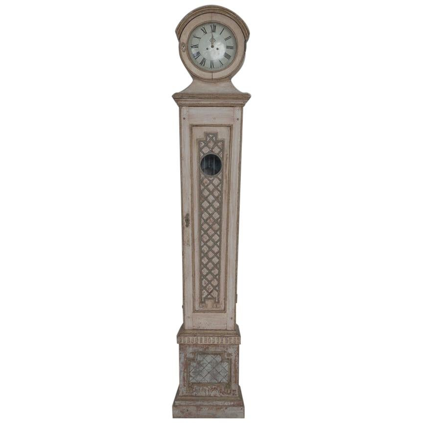 19th Century Swedish Mora Working Tall Case Clock in Original Paint