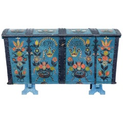 19th Century Swedish Oak Hand Painted Dome Top Trunk