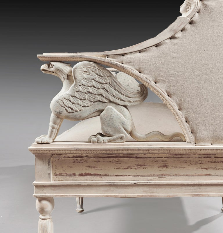 Linen 19th Century Swedish Painted Griffin Sofa Gustavian For Sale