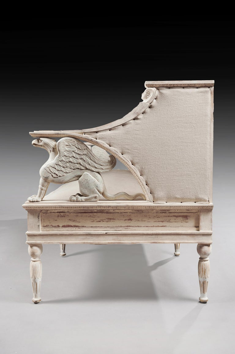 19th Century Swedish Painted Griffin Sofa Gustavian For Sale 2