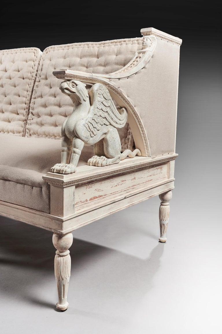 19th Century Swedish Painted Griffin Sofa Gustavian For Sale 3