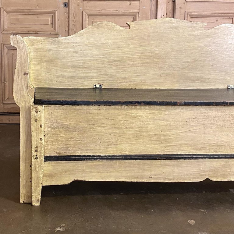 19th Century Swedish Painted Hall Bench, Trundle Bed For Sale 6
