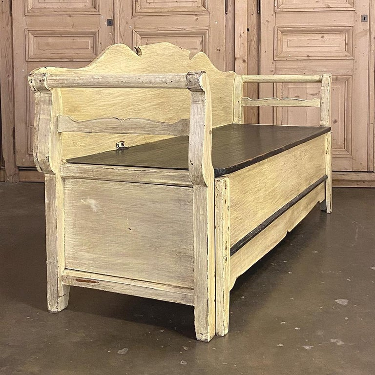 19th century Swedish painted hall bench ~ trundle bed is the perfect selection for the active family! By day, a handsome, country style hall bench ~ by night, pullout / pull-out the trundle, pop up the seat, and a mattress can be dropped in for