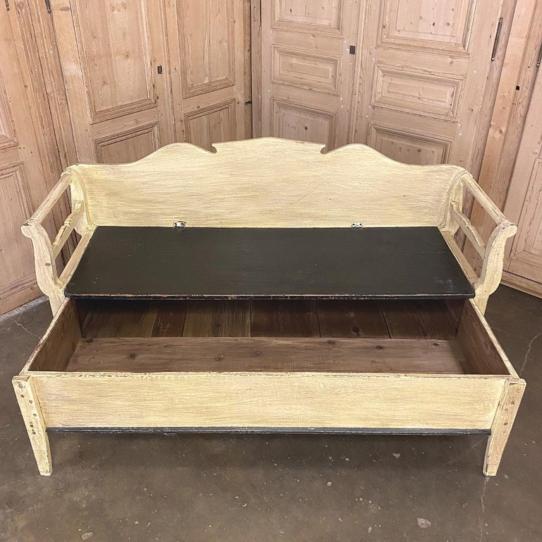 Wood 19th Century Swedish Painted Hall Bench, Trundle Bed For Sale