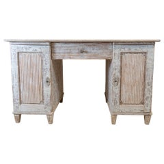 19th Century Swedish Painted Pedestal Desk with Reeded Panel Doors, Sides & Back