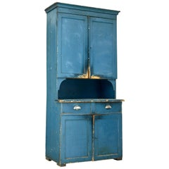19th Century Swedish Painted Pine Kitchen Cupboard