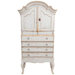 19th Century Swedish Painted Rococo Cabinet or Cupboard