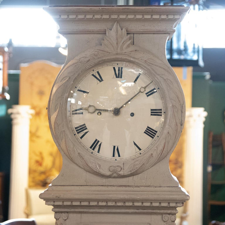 19th Century Swedish Painted Tall Case Clock For Sale 5
