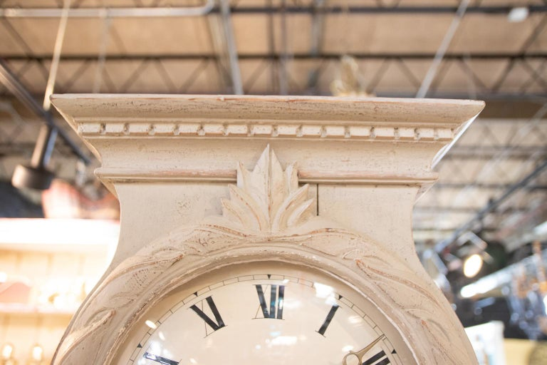 Pine 19th Century Swedish Painted Tall Case Clock For Sale