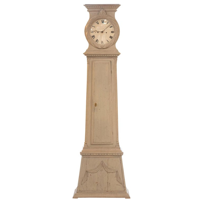 19th Century Swedish Painted Tall Case Clock For Sale