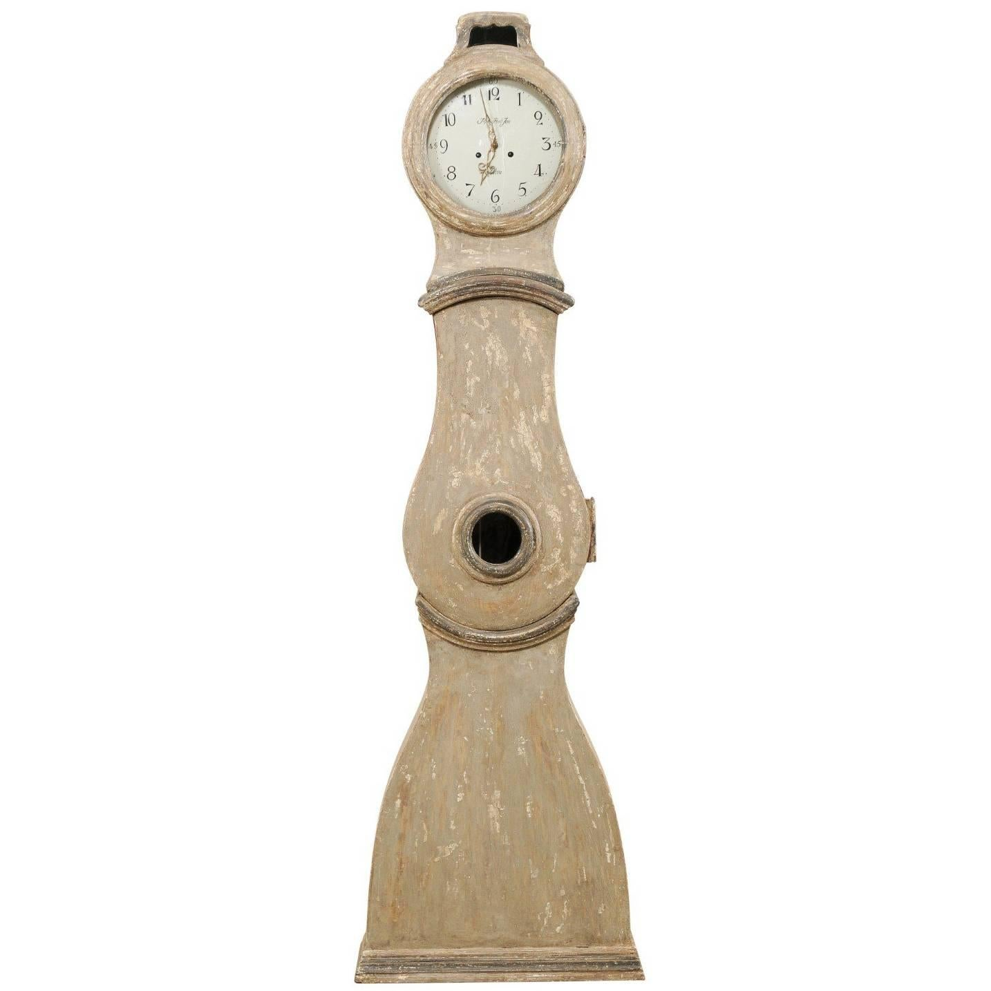 19th Century Swedish Painted Taupe and Grey Wood Floor Clock