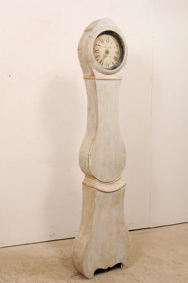 Gustavian 19th Century Swedish Painted Wood Floor Clock in Soft Cream Color For Sale