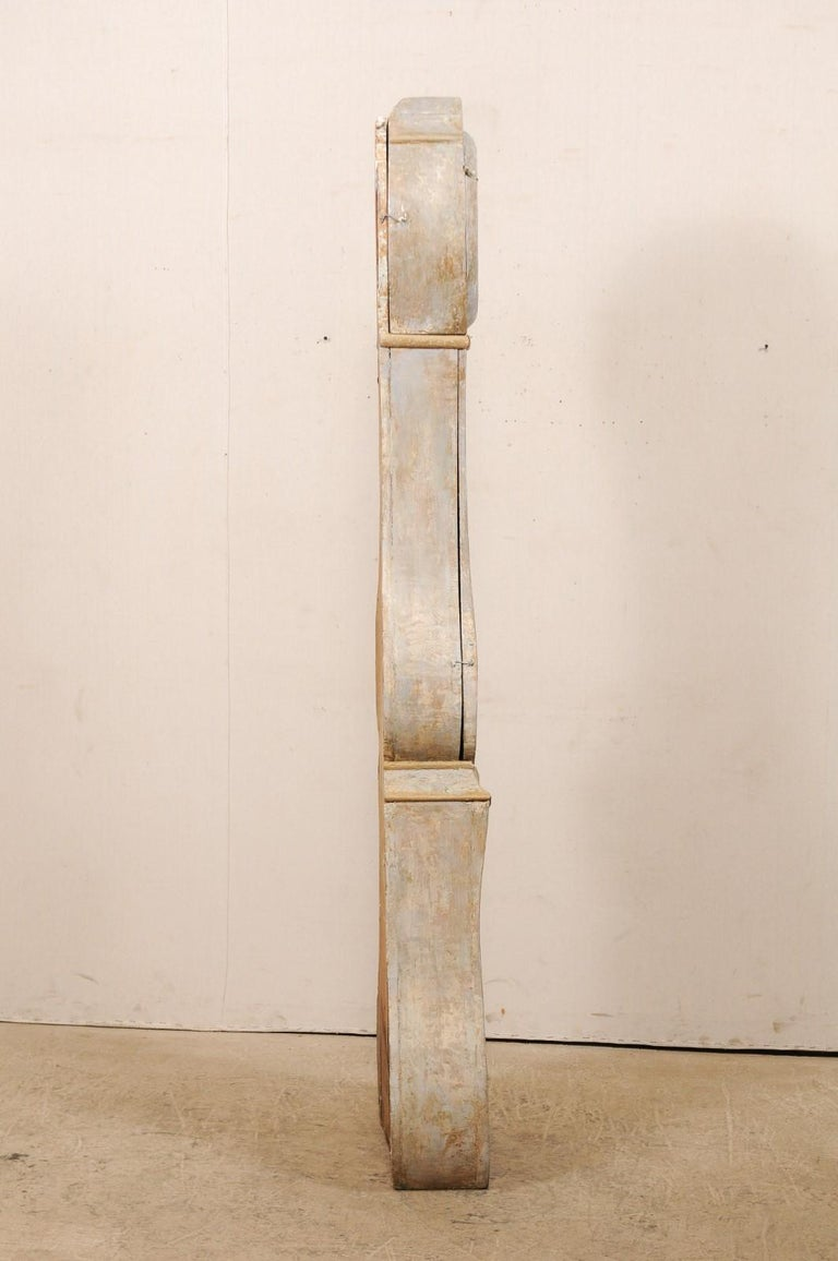 19th Century Swedish Painted Wood Floor Clock in Soft Cream Color For Sale 4