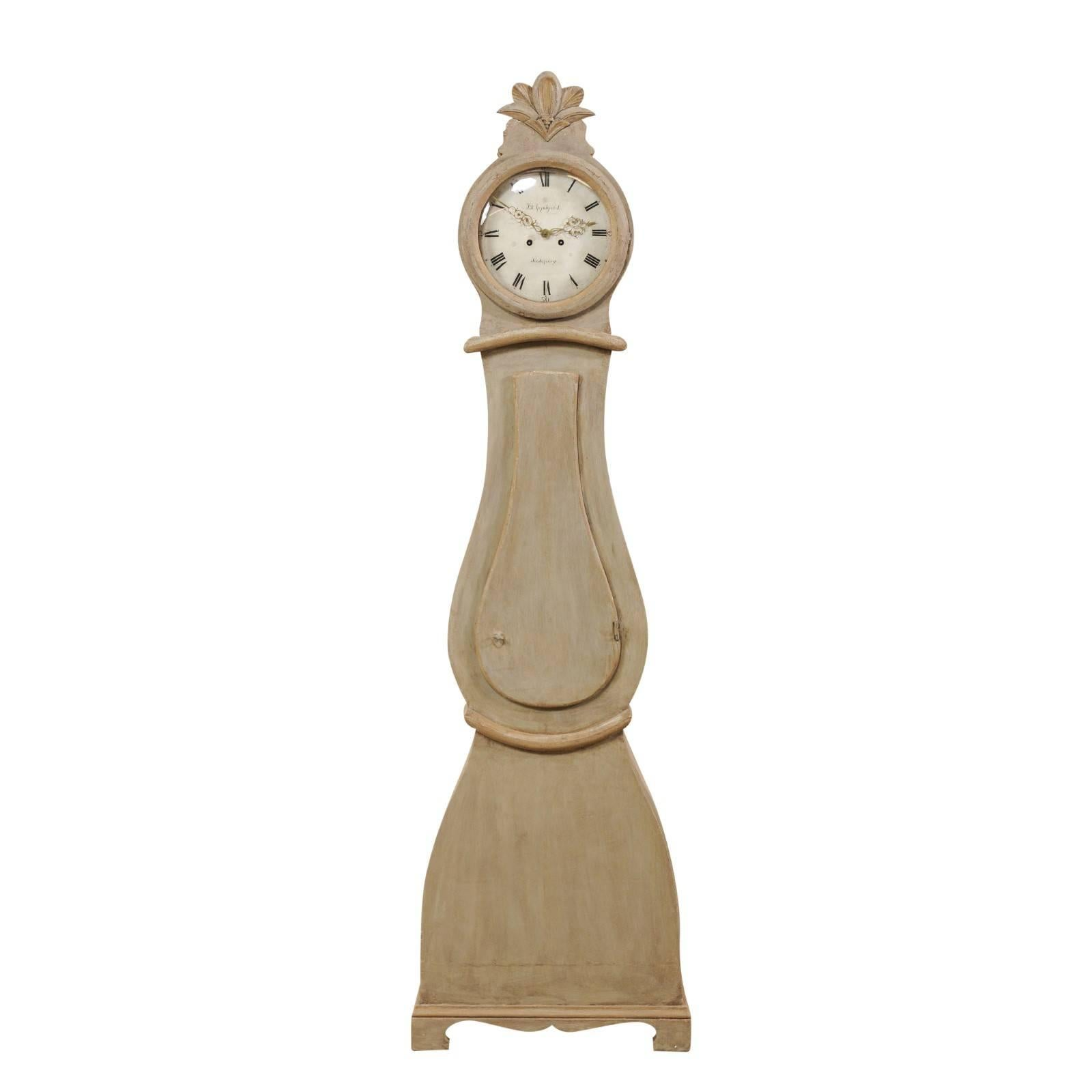 19th Century Swedish Painted Wood Floor Clock with Feathering Carved Crest