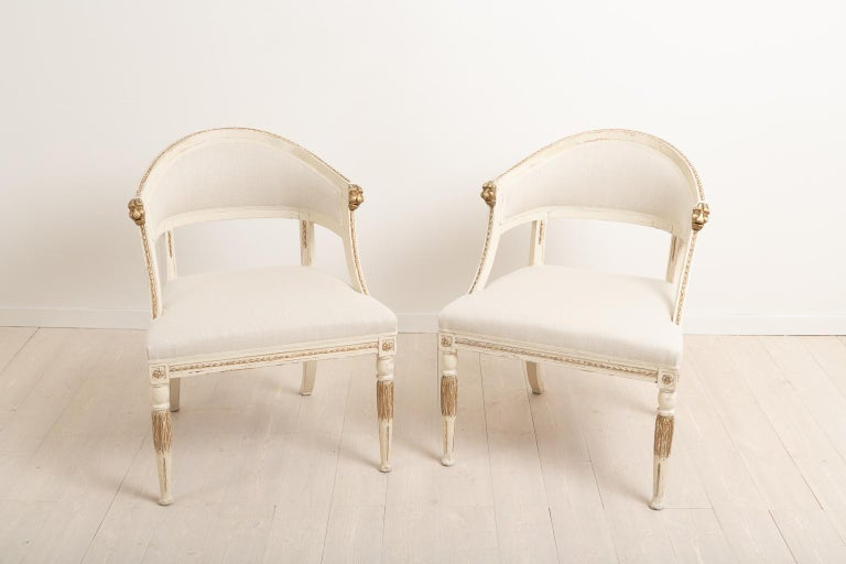 Gustavian 19th Century Swedish Pair of Barrel Back Armchairs For Sale