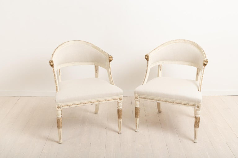 Hand-Crafted 19th Century Swedish Pair of Barrel Back Armchairs For Sale