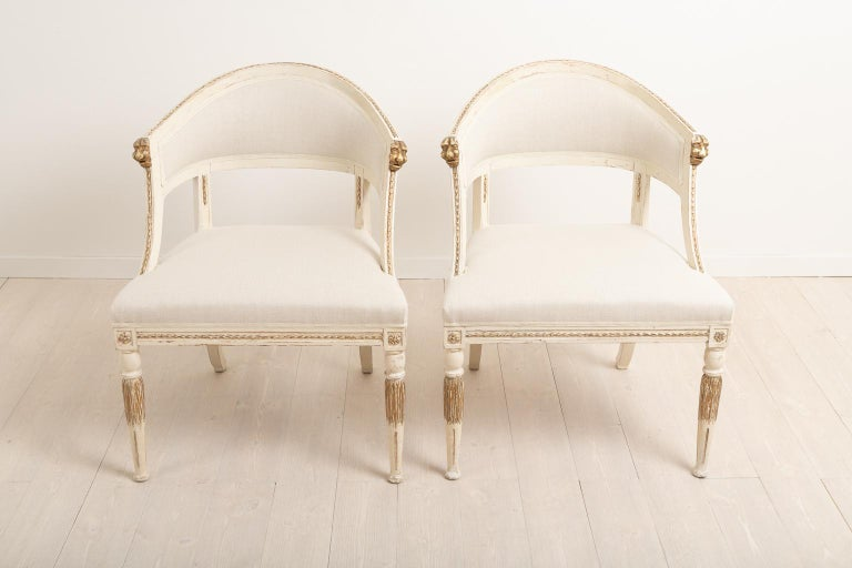 19th Century Swedish Pair of Barrel Back Armchairs In Good Condition For Sale In Kramfors, SE