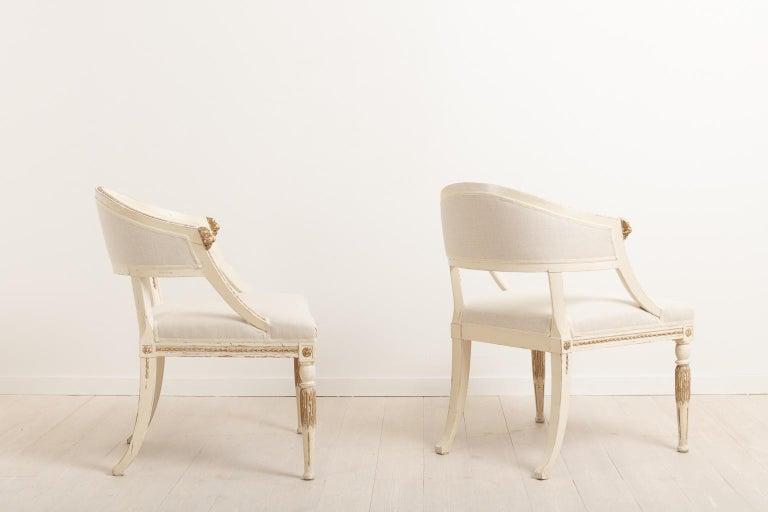 Pine 19th Century Swedish Pair of Barrel Back Armchairs For Sale