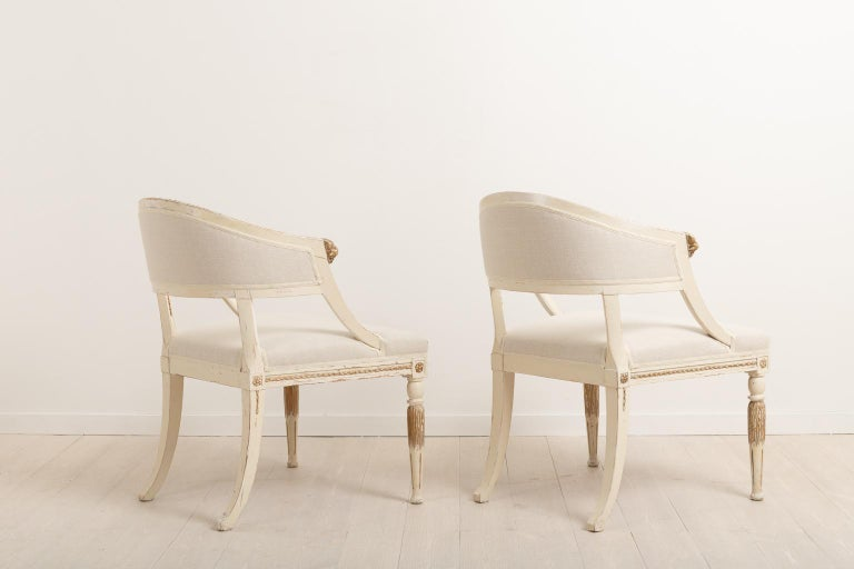 19th Century Swedish Pair of Barrel Back Armchairs For Sale 1