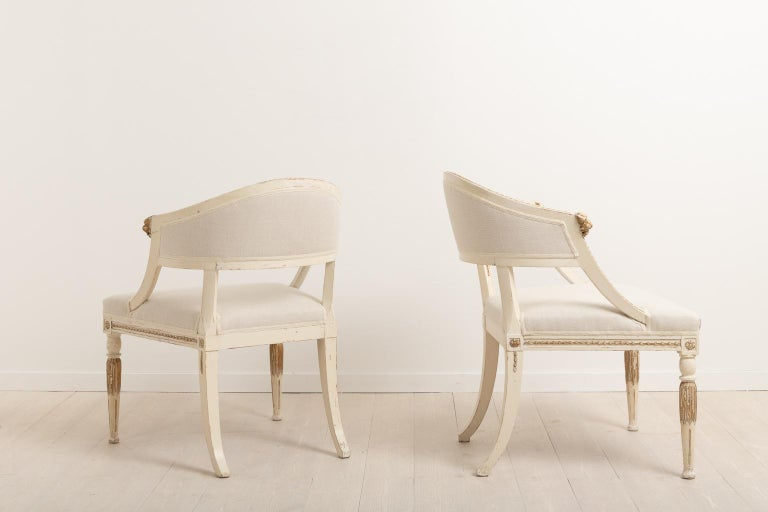 19th Century Swedish Pair of Barrel Back Armchairs For Sale 2