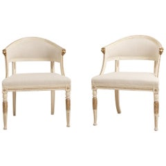 19th Century Swedish Pair of Barrel Back Armchairs