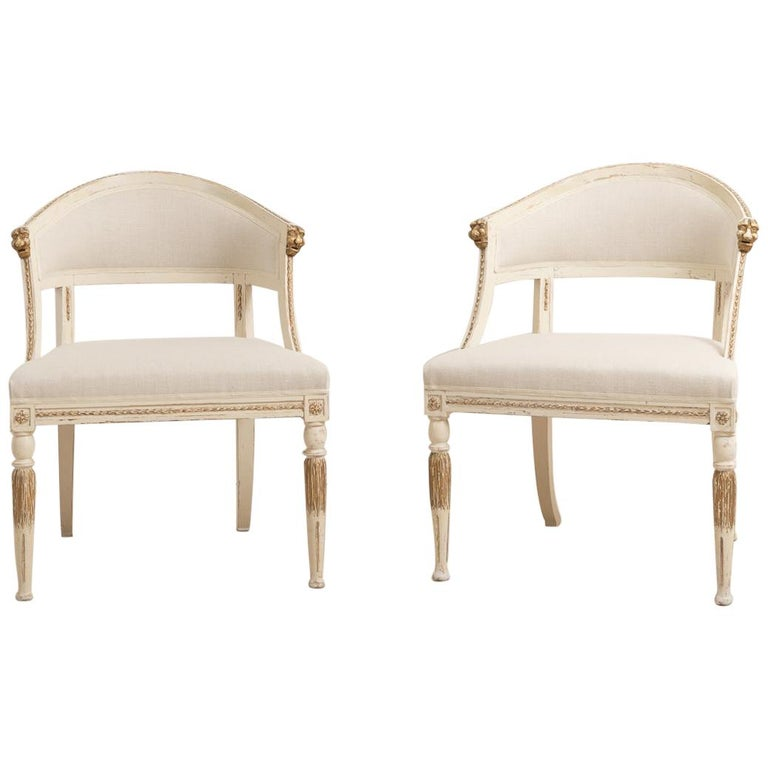 19th Century Swedish Pair of Barrel Back Armchairs For Sale