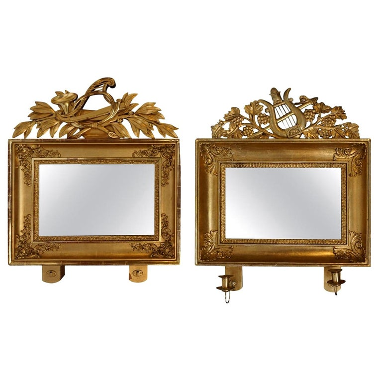 19th Century Swedish Pair of Gilded Wood Wall Mirrors For Sale