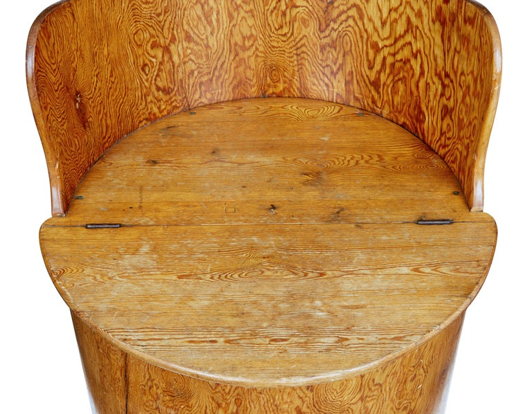 19th Century Swedish Pine Dug Out Chair For Sale 1