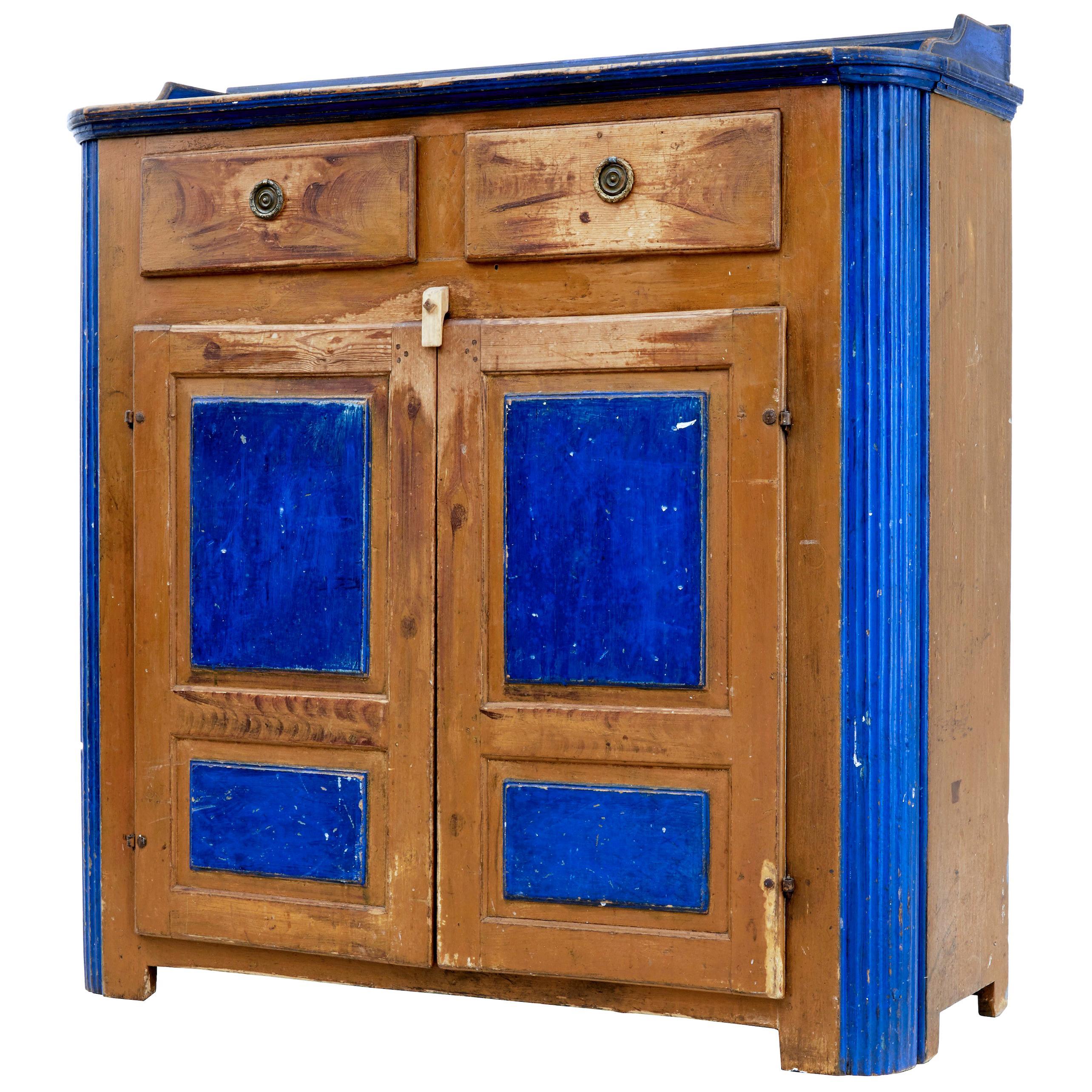 19th Century Swedish Pine Painted Kitchen Cupboard