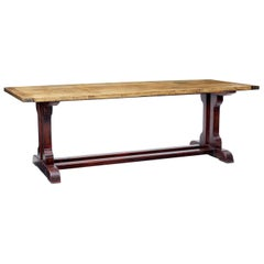 19th Century Swedish Pine Refectory Table with Painted Base