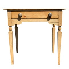 19th Century Swedish Pine Side Table with One Drawer