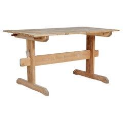 19th Century Swedish Pine Trestle Dining Table
