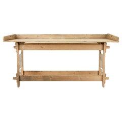 19th Century Swedish Pine Trestle Work Table