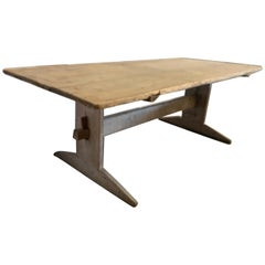 19th Century Swedish Pine Wide Table Top Stretcher Table with Hints of Paint