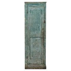 19th Century Swedish Primitive Cabinet with Original Blue-Green Paint