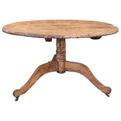 19th Century Swedish Primitive Pedestal Table