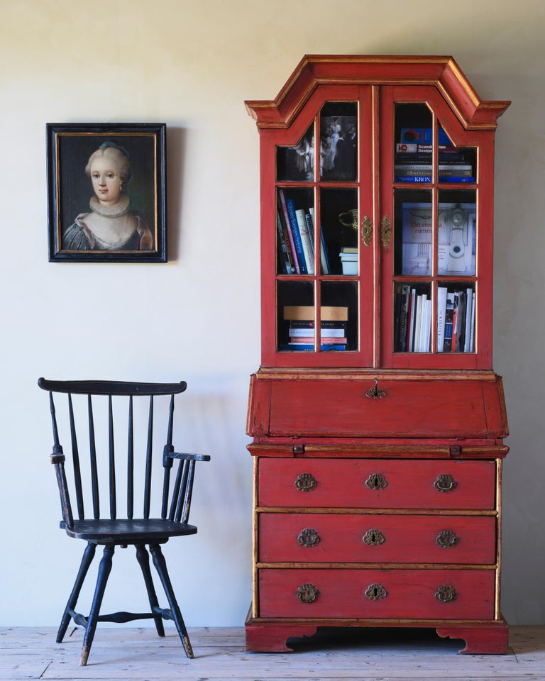 Most unusual 19th-century Swedish provincial revolving stick back desk chair in its original condition. Ca 1840.