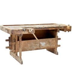 19th Century Swedish Rustic Pine Work Bench
